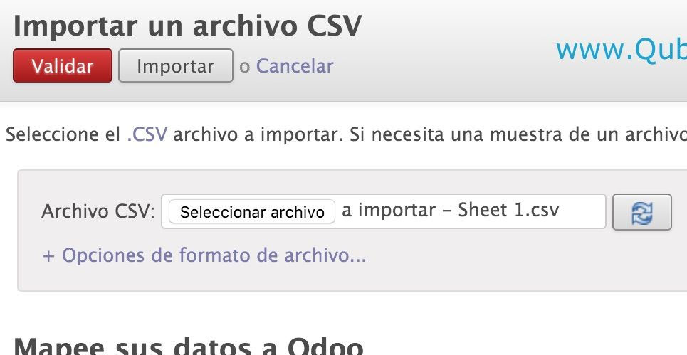 Manual Odoo importar datos Qubiq